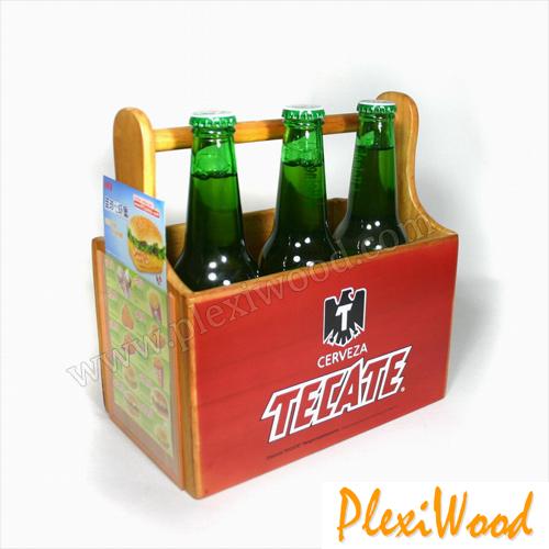 Cerveza Tecate wood caddy - PlexiWood.com