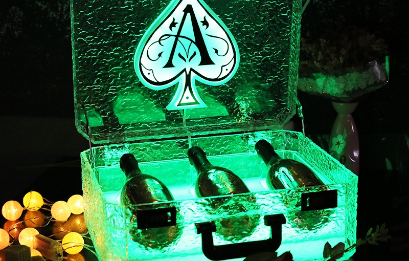 Ice Rock 3 bottles Rechargeable LED Ace of Spade Glorifier Box Champagne Bottle Carrier Case